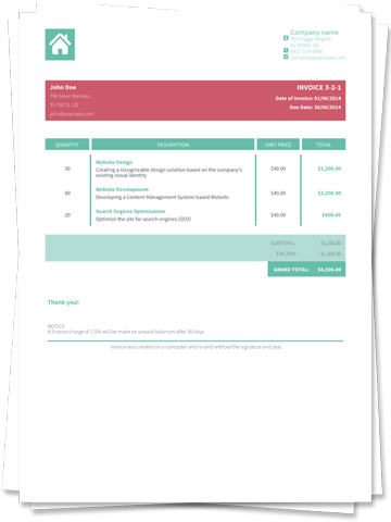 HTML PDF API HTML To PDF Ready Invoice Templates - Invoice template html